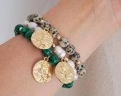 Rose Charm Bracelet - Gemstone Bracelet - Dalmatian Jasper - Freshwater Pearl - Malachite