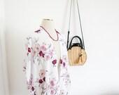 Womens White Floral Boho Kimono