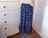 Women's Floral Ruffle Skirt - Blue - Size Small