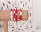 Orange White Bracelet Set - Sunset