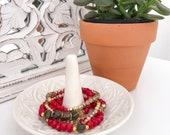 Tigers Eye Red  Bracelet Set - Chocolate