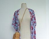 Womens Long Blue Paisley Kimono
