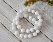 White Jade Bracelet with Swarovski Crystals