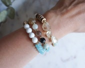 Multi Stone Bracelet in Amazonite, Citrine, Wood and Shell, Natural Colorful Jewelry for Spring