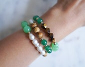 Green Aventurine Mixed Stone Bracelet | Tigers Eye | Fresh Water Pearls | Picture Jasper | Stackable Gemstone Bracelets