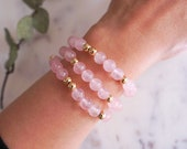 Rose Quartz Bracelet | Natural Rose Quartz Stackable Gemstone Bracelets | Love Jewelry | Valentines Day Gifts for Her | Anniversary Gift