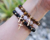 Gemstone Cross Bracelet - Rose Quartz - Tigers Eye - Black Jasper