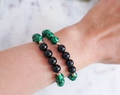 Strength & Protection Bracelet | Malachite + Black Onyx | Stackable Gemstone Bracelets