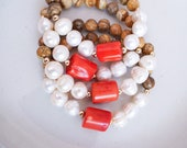 Mixed Stone Bracelet | Picture Jasper, Pearl + Coral | Stackable Gemstone Bracelet