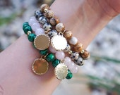 Gemstone Medallion Bracelet - Malachite - Rose Quartz - Dalmatian Jasper - Picture Jasper