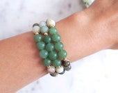 Peace & Harmony Bracelet | Amazonite + Green Aventurine Green Jewelry for Luck and Wealth, Stackable Gemstone Bracelets