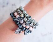 Monstera Bracelet in Pink Zebra Jasper, Dalmatian Jasper, Kiwi Jasper and Snowflake Obsidian, Plant Lady Gift, Spring Jewelry
