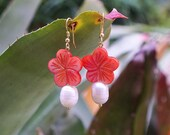 Pink Flower Earrings - Mother of Pearl - Freshwater Pearls