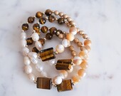 Natural Tiger Eye Mixed Stone Bracelet | Mother of Pearl | Fresh Water Pearls