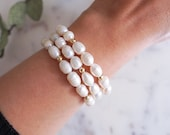 Freshwater Pearl Bracelet for Women, Gift for Wedding, Bridesmaid or Birthday, June Birthstone