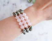 Love and Happiness Bracelet in Rose Quartz and Dalmatian Jasper