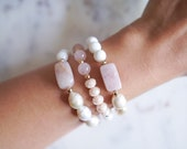 Mixed Stone Bracelet | Rose Quartz, Pearl + Shell | Stackable Gemstone Bracelet