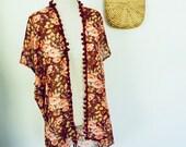 Women's Pom Pom Floral Kimono
