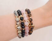 Gemstone Heart Bracelet - Dalmatian Jasper - Rose Quartz - Black Jasper - Tigers Eye