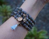 Celestial Charm Bracelet - Labradorite - Black Jasper