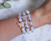 Moonstone Opal Butterfly Bracelet | Spring Jewelry | Iridescent Butterfly Bracelet | Stackable gemstone Bracelets