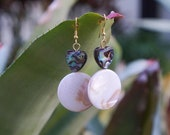 Abalone Heart Earrings - Natural Shell Jewelry