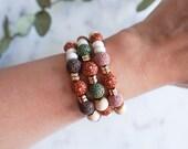 Lava Stone Heart Bracelet  - Valentine's Day Gift Idea for Her - Diffuser Bracelet - Essential Oil - Aromatherapy
