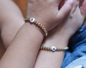 Mommy and Me Matching Gold Beaded Initial Bracelets for Mothers Day Gift, Spring Jewelry