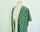Womens Green Paisley Kimono