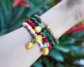 Pineapple Charm Bracelet - Malachite - Picture Jasper - Freshwater Pearl - Bamboo Coral