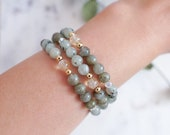 Gemstone Bracelet | Labradorite + Kiwi Jasper | Stackable Bracelets | The City Bracelet | Mixed Stone Bracelet