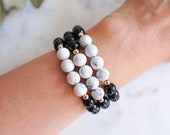 Calm & Comfort Beaded Bracelet in Howlite and Black Onyx