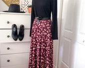 Women's Floral Maxi Skirt - Burgundy