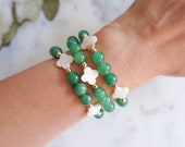 Clover  Beaded Bracelet in Green Aventurine for Luck and Prosperity, St. Patrick's Day Bracelet