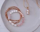 Mixed Stone Bracelet - Rose Quartz - Freshwater Pearl - Natural Shell - Blush Crystals