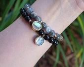 Gemstone Abalone Bracelet - Labradorite - Black Jasper