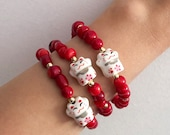 Cat Bracelet - Red Bamboo Coral