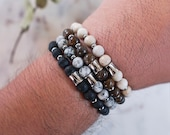 Mens Beaded Bracelets in Black Onyx, Grey Spotted Jasper,  Bronzite,  and Riverstone for Fathers Day Gift for Him
