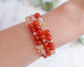 Gemstone Bracelet | Carnelian + Citrine | Stackable Bracelets | The Galena Bracelet