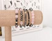 Rose Quartz Gray Bracelet Set - Smoke