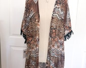 Womens Tribal Print Duster - Fringe Duster - Bohemian Apparel - Chiffon Duster
