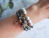 Moon Bracelet - Howlite - Labradorite - Snowflake Obsidian | Celestial Jewelry | Stackable Gemstone Bracelets