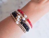 Stackable Crystal Bracelets | Mini Pearl Crystal Bracelets | Dainty Jewelry