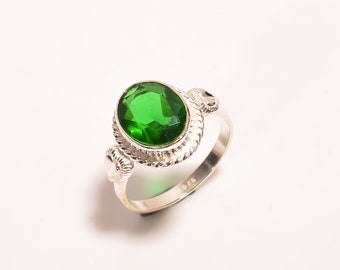 Size 7.5 Faceted Green Quartz Stacking Ring Sterling Silver