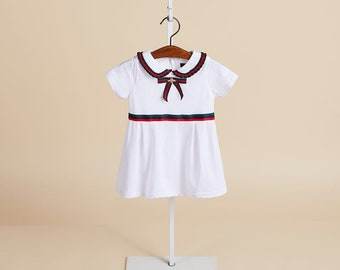 d30778e325ff Girls clothes dresses, kids, toddlers, all season dress, white, red, short  sleeve, Gucci inspired, holidays, occasions, birthdays, gifts