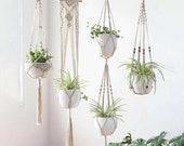 Modern Handmade macrame hanging rope plant and flower hanger