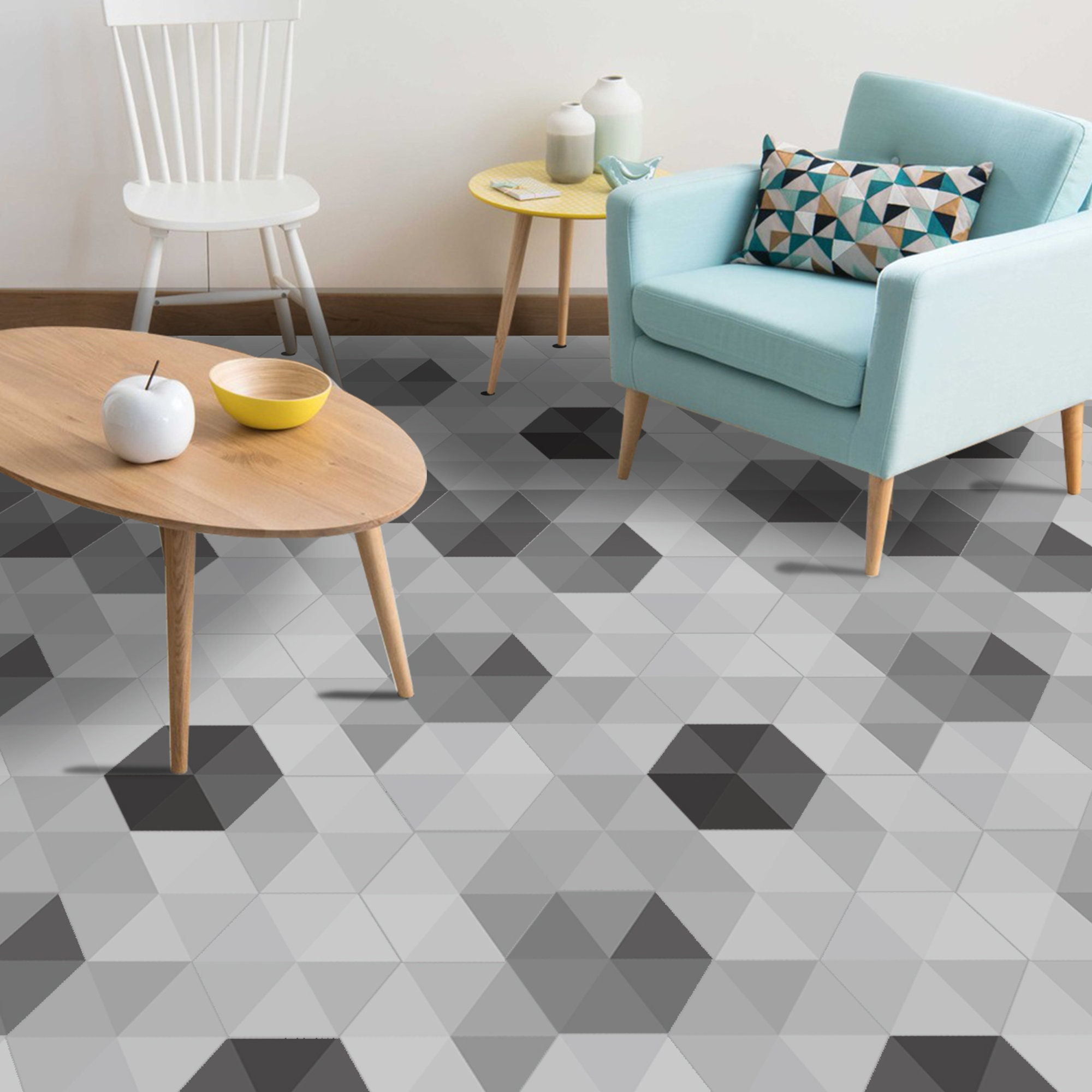 Carrelage Mural Metro Adhesif grey shaded triangles hexagon floor tiles self-adhesive floor sticker 7.9''  x 9'' decal art home decoration vintage classic bathroom kitchen