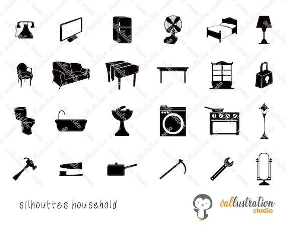 Household Icons Svg Household Silhouettes Furniture Icons Etsy