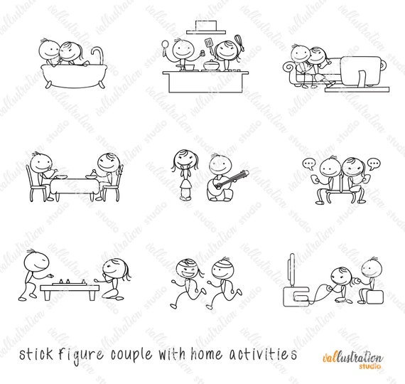 Stick Figure Doodle Couple Dating Home Activities Etsy