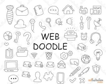 Business Web Doodle, Business Web Clip art, Items Doodles, Transparent, SVG, PNG Cricut DI019